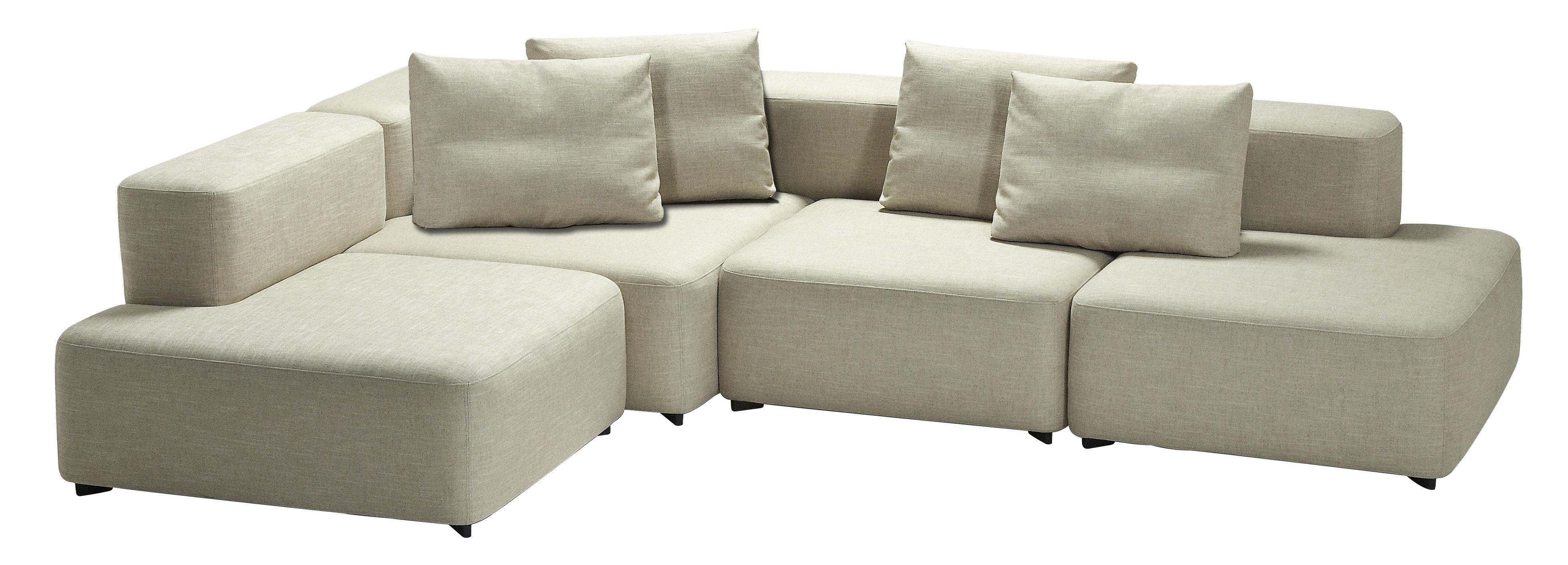 Möbel - Sofas - Alphabet Ecksofa modulares 4-Sitzer Ecksofa - L 300 x T 210 cm - Fritz Hansen - Hellbeige - Kvadrat-Gewebe, Schaumstoff