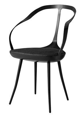 Mobilier - Chaises, fauteuils de salle à manger - Fauteuil Mollina / Métal & pieds bois - Assise rembourrée tissu - Driade - Noir / coussin gris foncé - Acier peint, Polyuréthane, Tissu