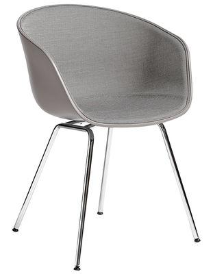 Möbel - Stühle  - About a chair AAC26 Gepolsterter Sessel / Sitzfläche mit Stoff ausgekleidet & Stuhlbeine Metall - Hay - Schwarz & Stoff hellgrau / Stuhlbeine Metall, verchromt - Gewebe, Polypropylen, Schaumstoff, verchromter Stahl