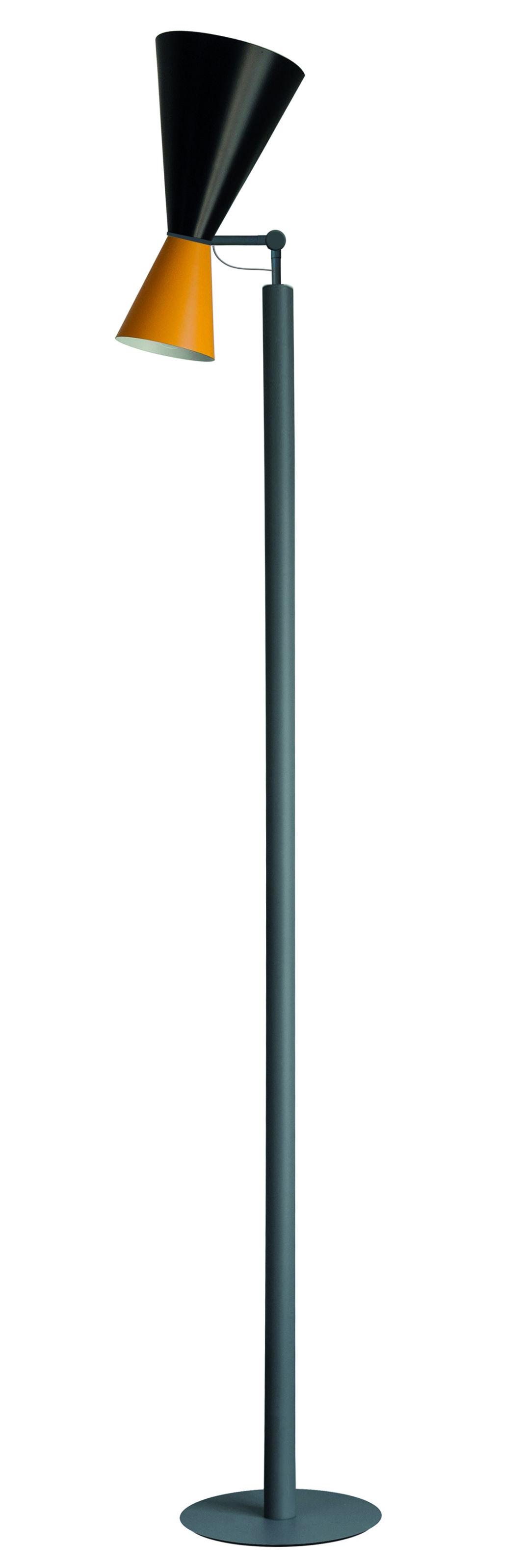 Illuminazione - Lampade da terra - Lampada Parliament / Le Corbusier - Riedizione 1963 - Nemo - Nero & giallo / Piede grigio - Metallo