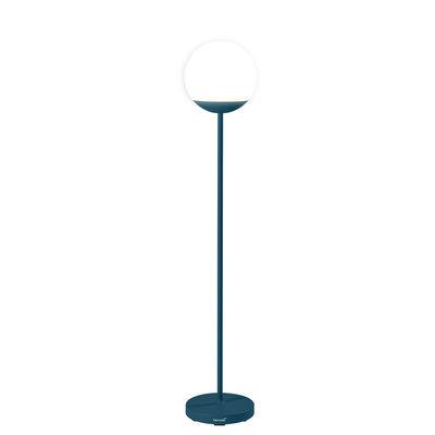 Illuminazione - Lampade da terra - Lampada a stelo senza fili Mooon! LED - / H 134 cm - Bluetooth di Fermob - Blu Acapulco - Alluminio, Polietilene
