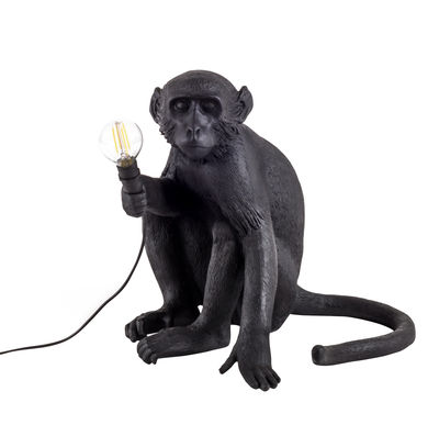Lampe de table Monkey Sitting / Outdoor - H 32 cm - Seletti noir en matière plastique