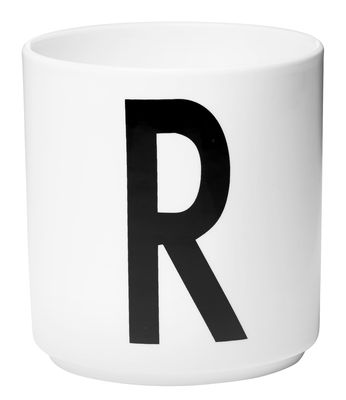Mug Arne Jacobsen / Porcelaine - Lettre R - Design Letters blanc en céramique