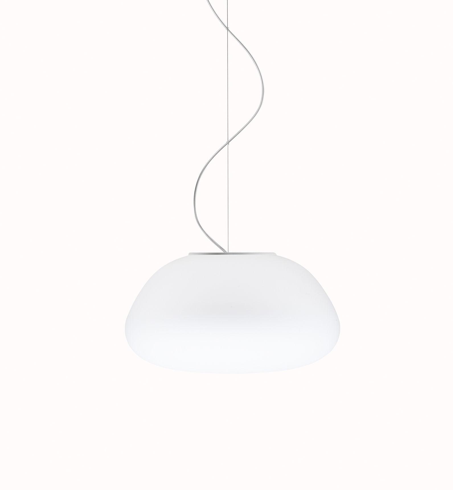 Lighting - Pendant Lighting - Poga Pendant - Ø 42 cm by Fabbian - White - Glass
