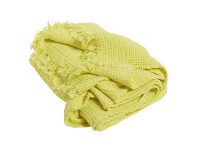 Plaid Crinkle / Coton plissé - 210 x 150 cm - Hay jaune en tissu