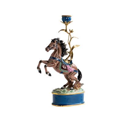 Interni - Candele, Portacandele, Lampade - Portacandela Cheval - / Porcellana & ottone - H 41 cm di & klevering - Cavallo - Ottone, Porcellana