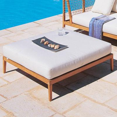 Furniture - Poufs & Floor Cushions - Synthesis Pouf - / Cushion - 100 x 100 cm by Unopiu - Teak & natural / Ecru white cushion - Acrylic fabric, Teak, Waprolace synthetic fibre