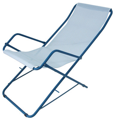 Outdoor - Sun Loungers & Hammocks - Bahama Reclining chair - Folding by Emu - Blue sky / Blue structure - Cloth, Varnished steel