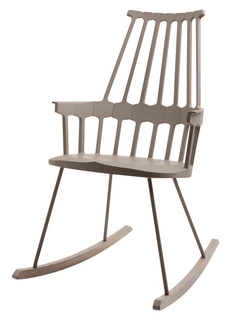 Furniture - Armchairs - Comback Rocking chair by Kartell - Chestnut / Wood - Thermoplastic technopolymer, Tinted ashwood