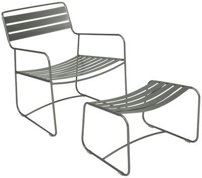 Set fauteuil & repose-pieds Surprising Lounger - Fermob romarin en métal