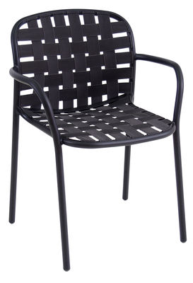 Möbel - Stühle  - Yard Stapelbarer Sessel / Sitzfläche aus elastischen Gurten - Emu - Schwarz - klarlackbeschichtetes Aluminium, Spanngurt, elastisch