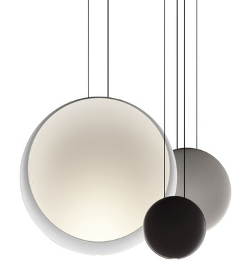 Luminaire - Suspensions - Suspension Cosmos LED / Set de 3 suspensions - L 65 cm - Vibia - Blanc Ø48 / Gris Ø27 / Chocolat Ø19 - Polycarbonate