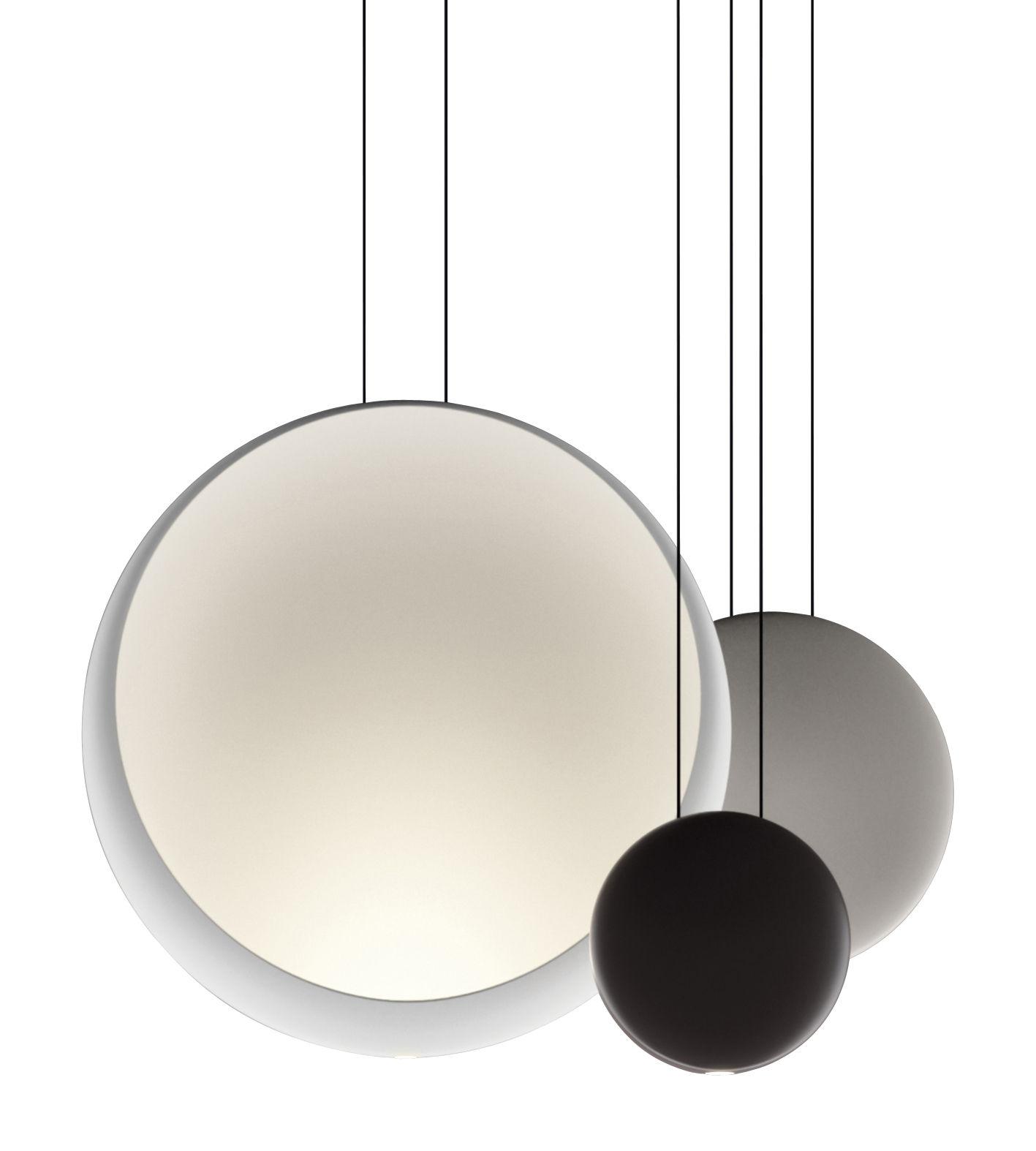 Luminaire - Suspensions - Suspension Cosmos LED / Set de 3 suspensions - L 65 cm - Vibia - Blanc Ø48 / Gris Ø27 / Chocolat Ø19 - Polycarbonate
