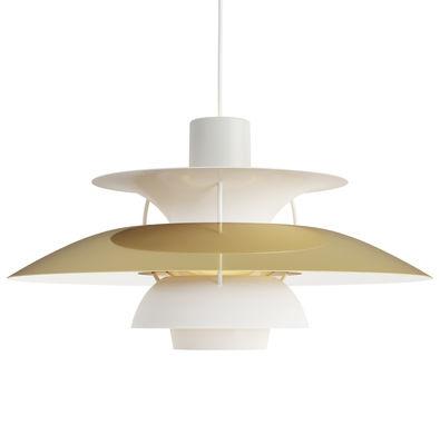 Luminaire - Suspensions - Suspension PH 5 / Ø 50 cm - Louis Poulsen - Laiton & blanc / Tiges blanches - Aluminium laqué, Laiton poli