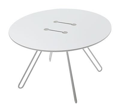 Mobilier - Tables basses - Table basse Twine Ø 50 x H 33 cm - Casamania - Piètement blanc / Plateau blanc - MDF laqué, Métal laqué
