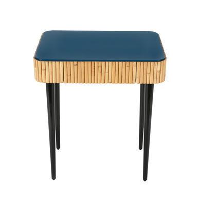 Table de chevet Riviera / Rotin - Tiroir - Maison Sarah Lavoine noir,rotin naturel,bleu sarah en bois