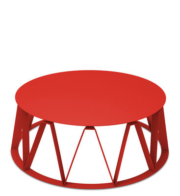 Arredamento - Tavolini  - Tavolino Auguste - / Ø 74 x H 26 cm - Metallo di Presse citron - Rosso - Tôle d'acier laquée