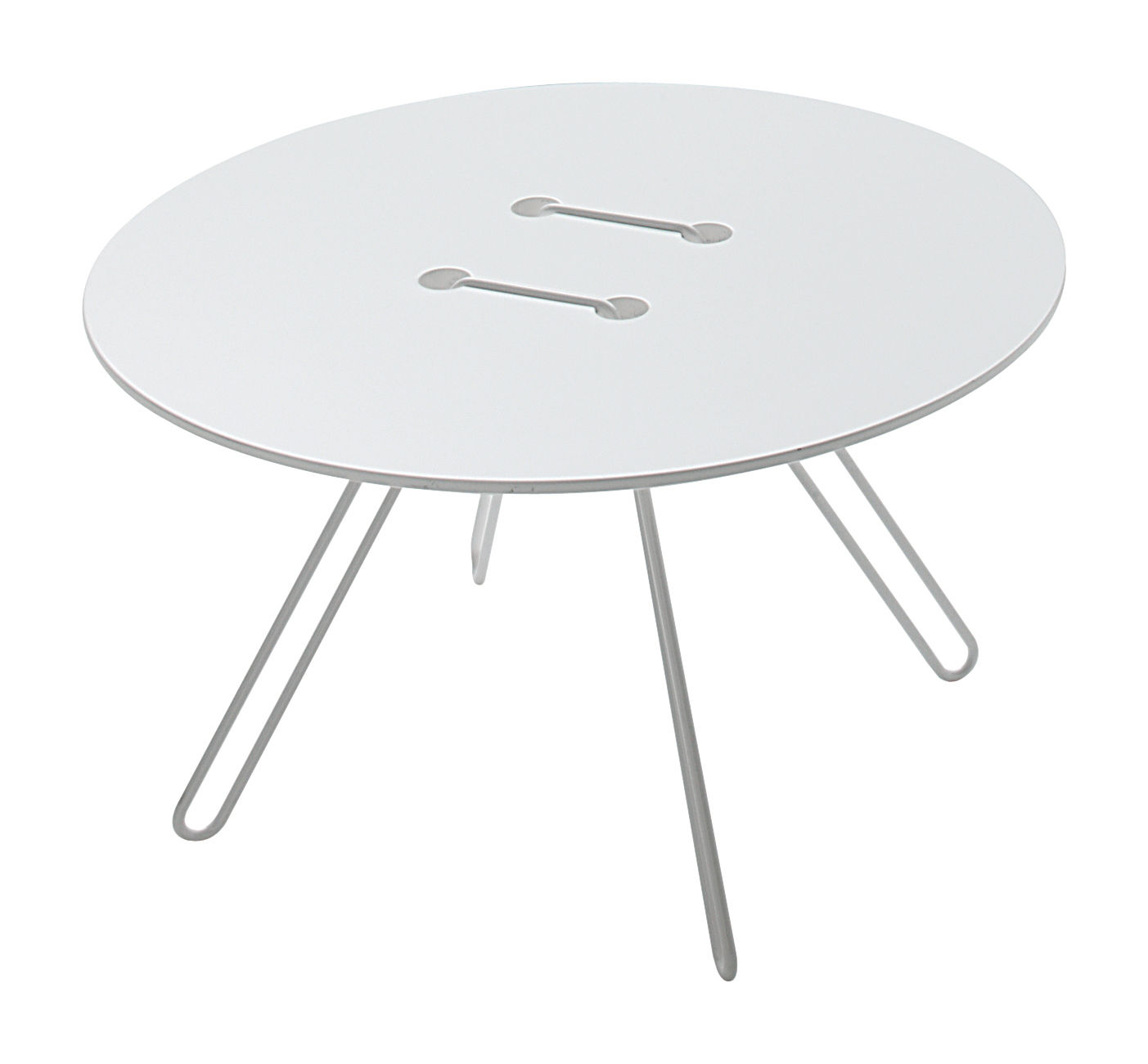 Arredamento - Tavolini  - Tavolino Twine - Ø 50 x H 33 cm di Casamania - Base bianca / Top bianco - MDF laccato, metallo laccato