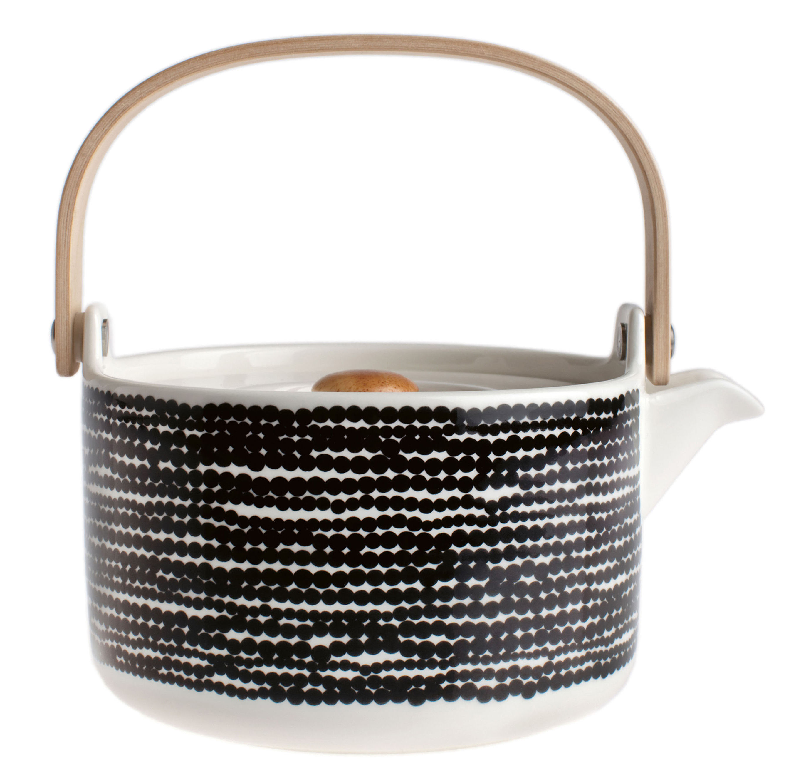 Tableware - Tea & Coffee Accessories - Siirtolapuutarha Teapot by Marimekko - Räsymatto - Black & white - Sandstone