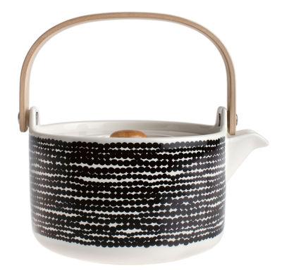 Théière Siirtolapuutarha / 70 cl - Poignée bois - Marimekko blanc,noir en céramique