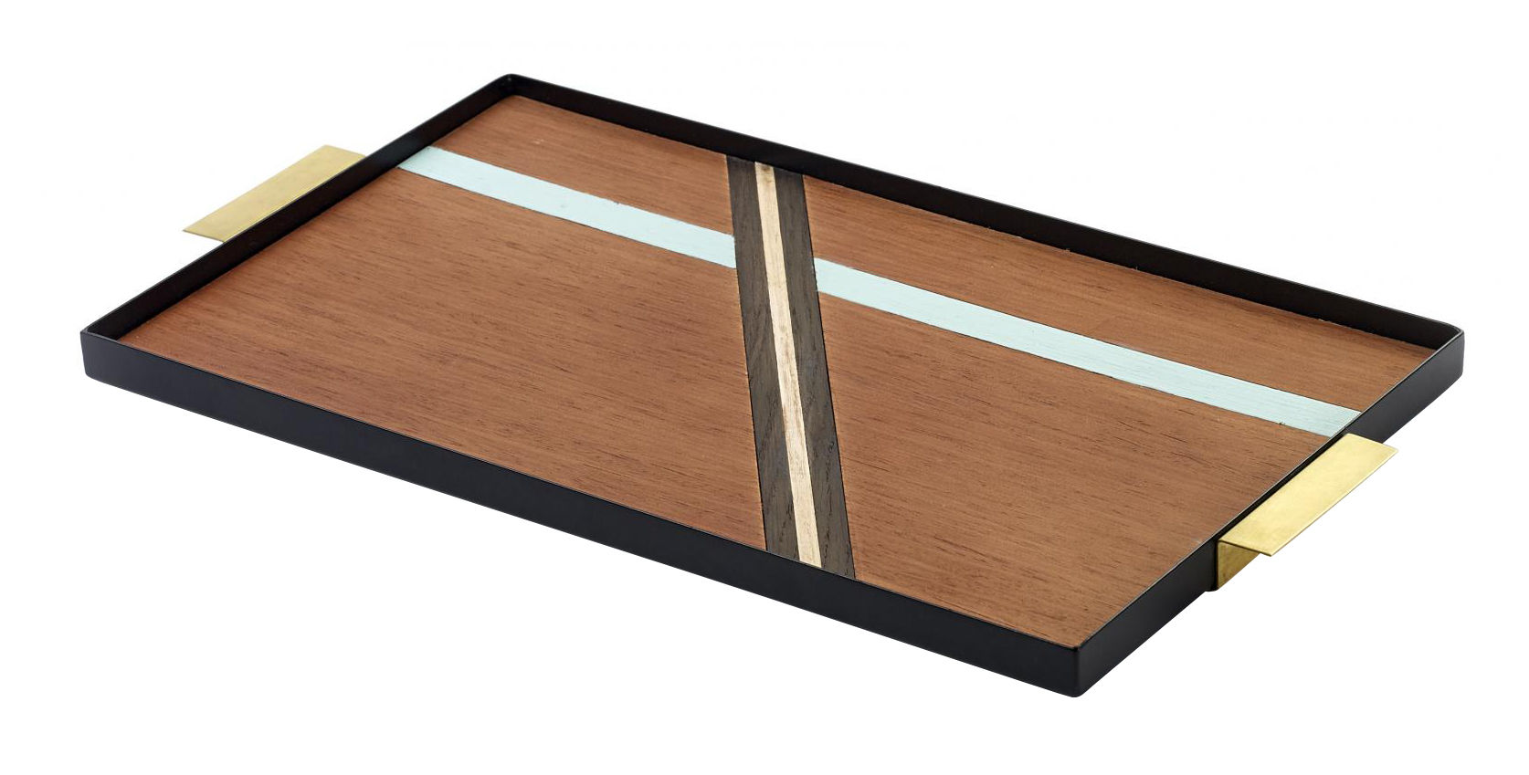 Tableware - Trays - Charles Tray - 44,5 x 24,5 cm / Wood & metal by Serax - Wood lines pattern / Brass handles - Brass, Lacquered steel, Wood