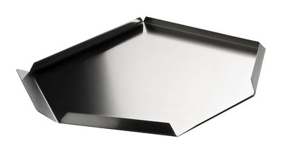 Tableware - Trays - Un attimo dopo Tray - hexagonal by Serafino Zani - Polished steel outside / Mat seel inside - Stainless steel