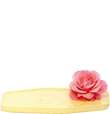 Image of Vaso Plan - / Vaso piatto in ceramica - Small - 24 x 15 cm di Moustache - Giallo - Ceramica