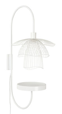 Lighting - Wall Lights - Papillon Wall light - / H 75 cm - Tablette by Forestier - Blanc - Powder coated steel