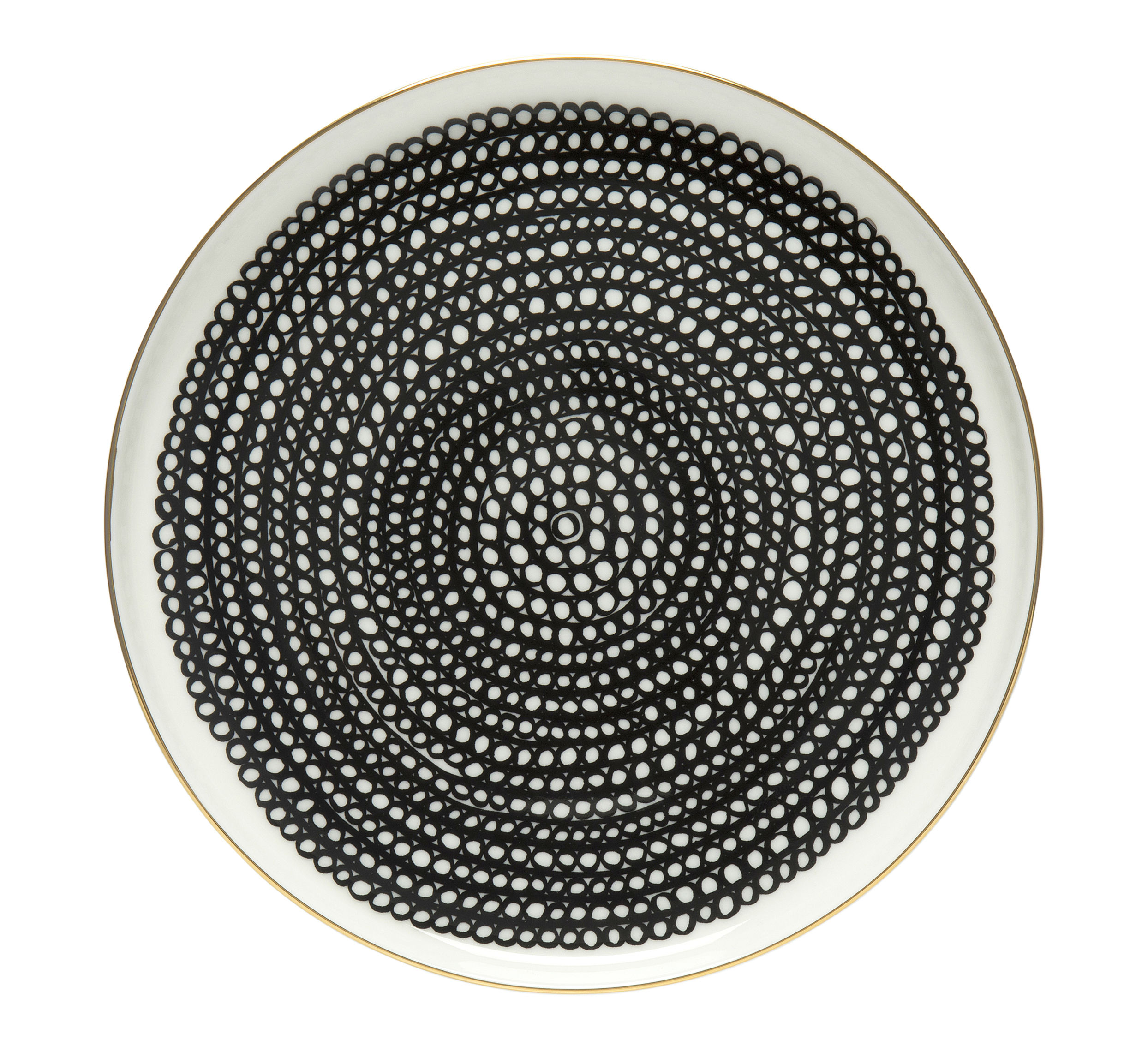 Arts de la table - Assiettes - Assiette à dessert Siirtolapuutarha / Ø 20 cm - Edition 10ème anniversaire - Marimekko - Siirtolapuutarha / Or, noir & blanc - Grès