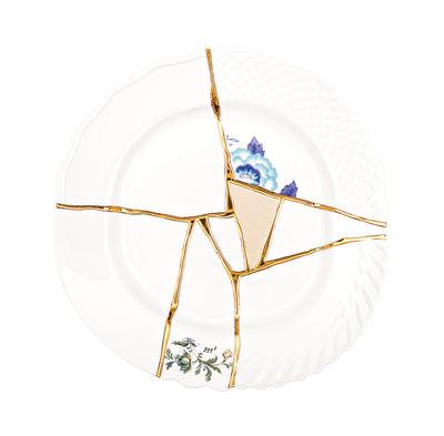 Assiette Kintsugi / Porcelaine & or fin - Seletti blanc,bleu,or en céramique
