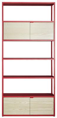 Mobilier - Etagères & bibliothèques - Bibliothèque New Order / L 100 x H 215 cm - Hay - Rouge / Caissons frêne naturel - Aluminium peint, Frêne naturel