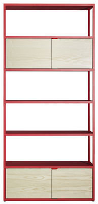 Möbel - Regale und Bücherregale - New Order Bücherregal / L 100 x H 215 cm - Hay - Rot / Schrankelemente aus Esche natur - bemaltes Aluminium, Esche, natur