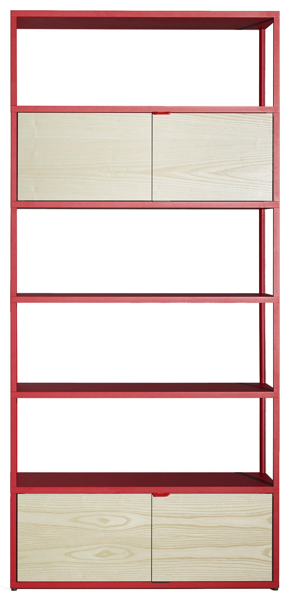 Möbel - Regale und Bücherregale - New Order Bücherregal / L 100 x H 215 cm - Hay - Rot / Schrankelemente aus Esche natur - bemaltes Aluminium, Frêne naturel