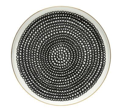 Tableware - Plates - Siirtolapuutarha Dessert plate - / Ø 20 cm - 10th anniversary edition by Marimekko - Siirtolapuutarha / Gold, black & white - Sandstone
