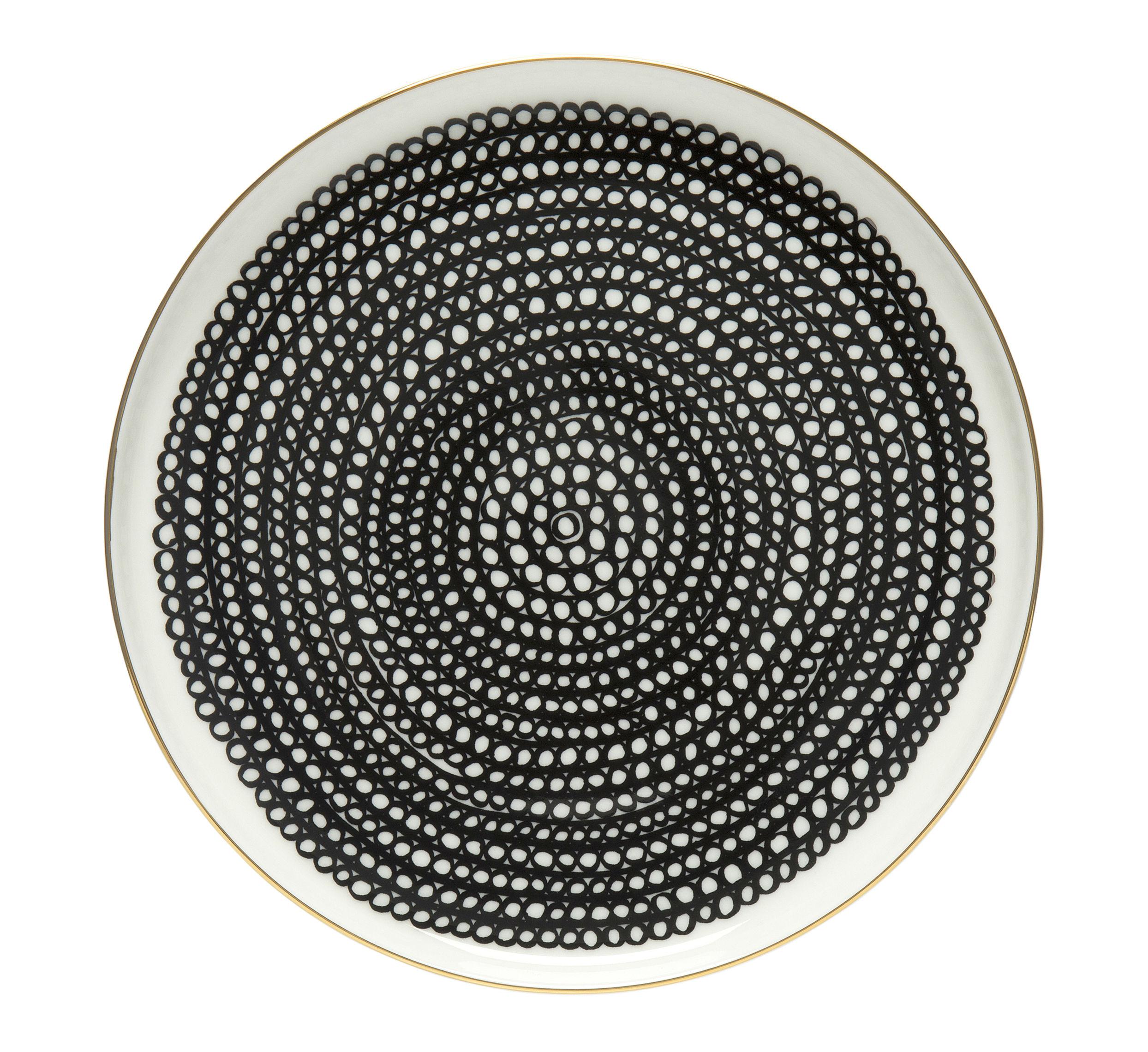 Tischkultur - Teller - Siirtolapuutarha Dessertteller / Ø 20 cm - Ausgabe zum 10-jährigen Jubiläum - Marimekko - Siirtolapuutarha / Gold, schwarz-weiß - Sandstein