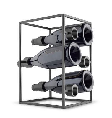 Tischkultur - Bar, Wein und Apéritif - Wine Cube Flaschenhalter / 6 Flaschen - Eva Solo - Schwarz matt - rostfreier Stahl