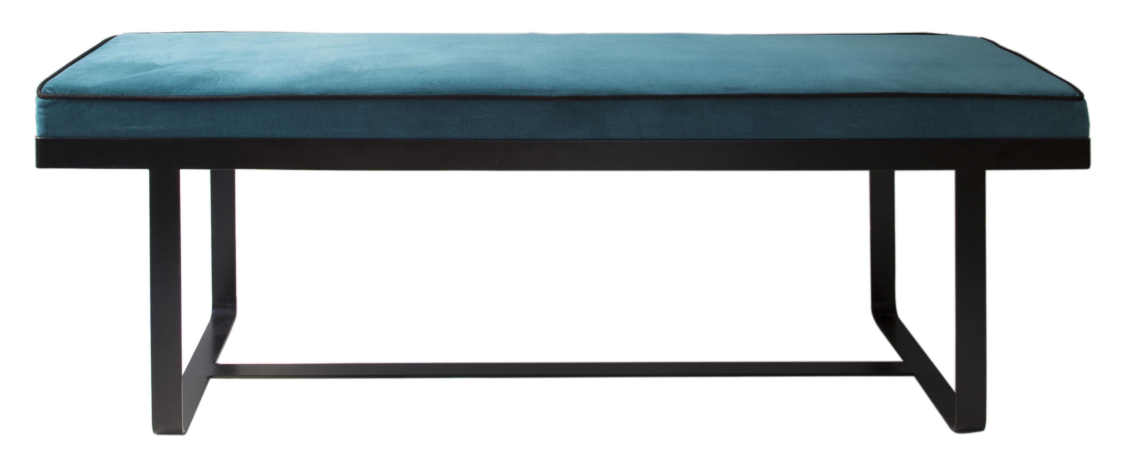 Möbel - Sitzkissen - Gaspard Gepolsterte Bank / Velours - L 140 cm - Maison Sarah Lavoine - Velours, blau / schwarz - bemaltes Metall, Schaumstoff, Velours