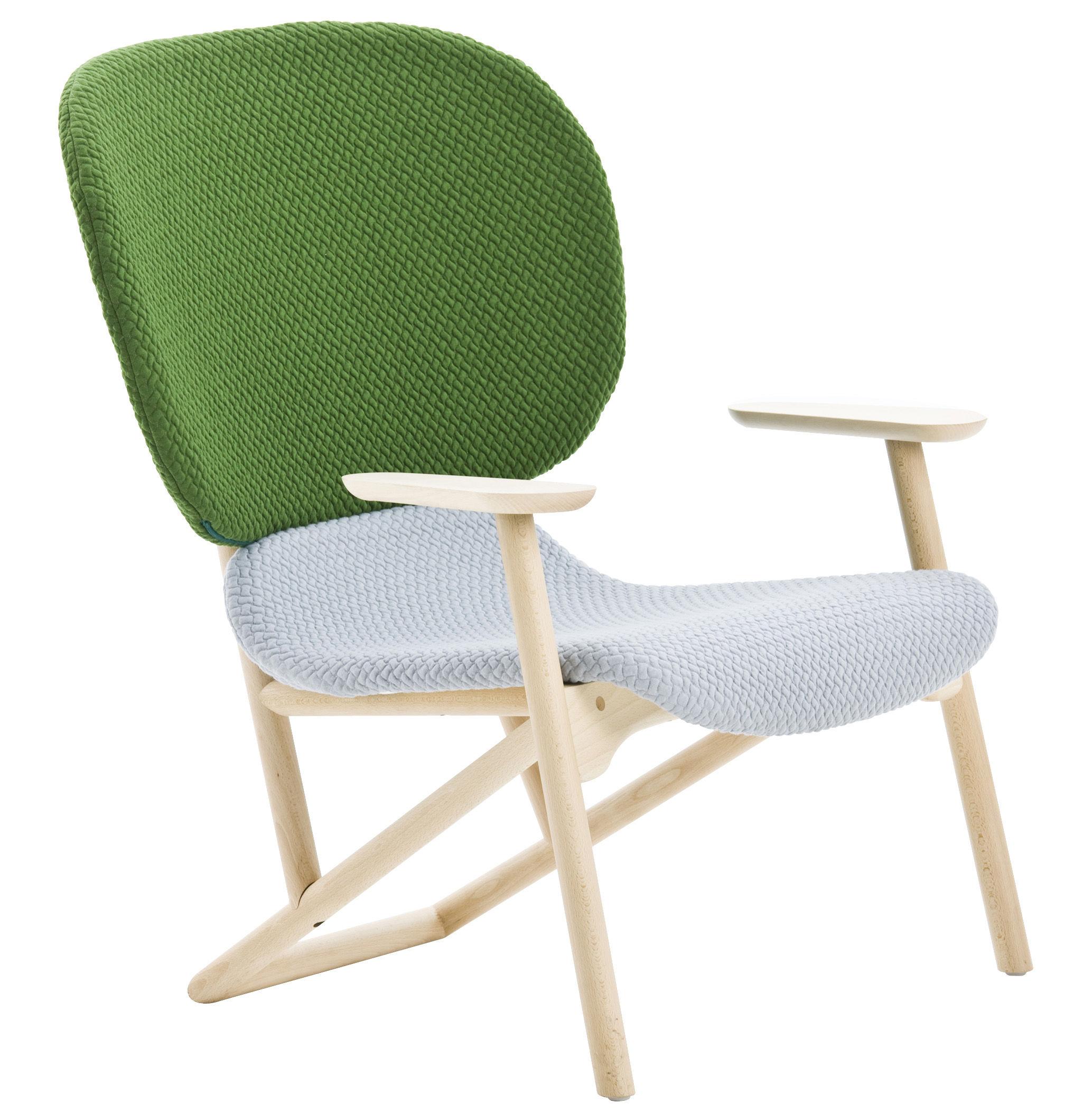Möbel - Lounge Sessel - Klara Gepolsterter Sessel Rückenlehne Stoff - Moroso - Korpus Buche natur / Rückenlehne Stoff (grün) / Sitzfläche Stoff (beige) - Buchenfurnier, Gewebe