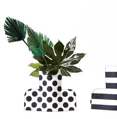 Housse pour vase Flower Power Large / H 35 cm - Feutre - Sancal blanc/noir en tissu
