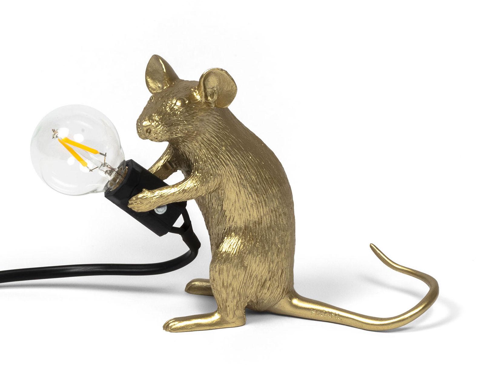 Interni - Per bambini - Lampada da tavolo Mouse Sitting #2 - / Topo seduto di Seletti - Topo seduto / Dorato - Resina
