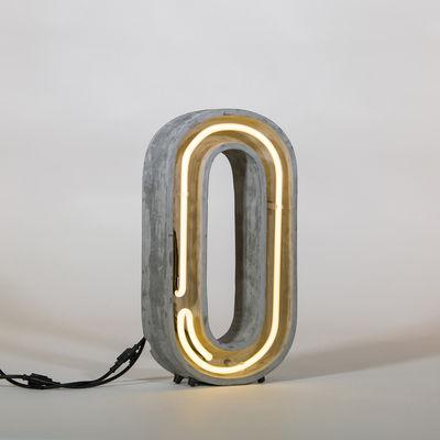 Lampe de table Néon Alphacrete / Lettre O - Intérieur / extérieur - Seletti blanc,gris en pierre