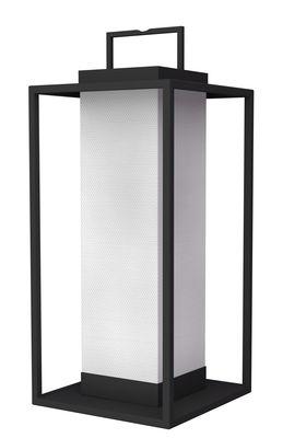 Luminaire - Lampes de table - Lampe solaire La Lampe Pacha / LED - Hybride & connectée - Maiori - Charbon - Aluminium laqué, Toile Batyline