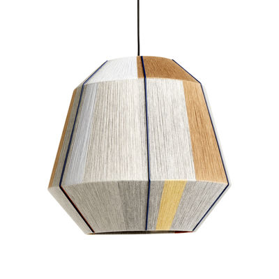 Lighting - Pendant Lighting - Bonbon Large Lampshade - / Ø 50 cm - Hand-woven wool by Hay - Wide / Earth - Nylon, Steel, Wool
