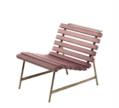 Giardinett Lounge Sessel / gepolstert - Mogg - Rosa,Bronze patiné