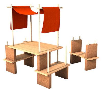 Arredamento - Scaffali e librerie - Mobile in evoluzione Play Yet 1! - / Per bambini - Set 29 pezzi di Smarin - Legno naturale / Tessuto rosso - Faggio naturale, Rovere naturale, Sughero, Tessuto