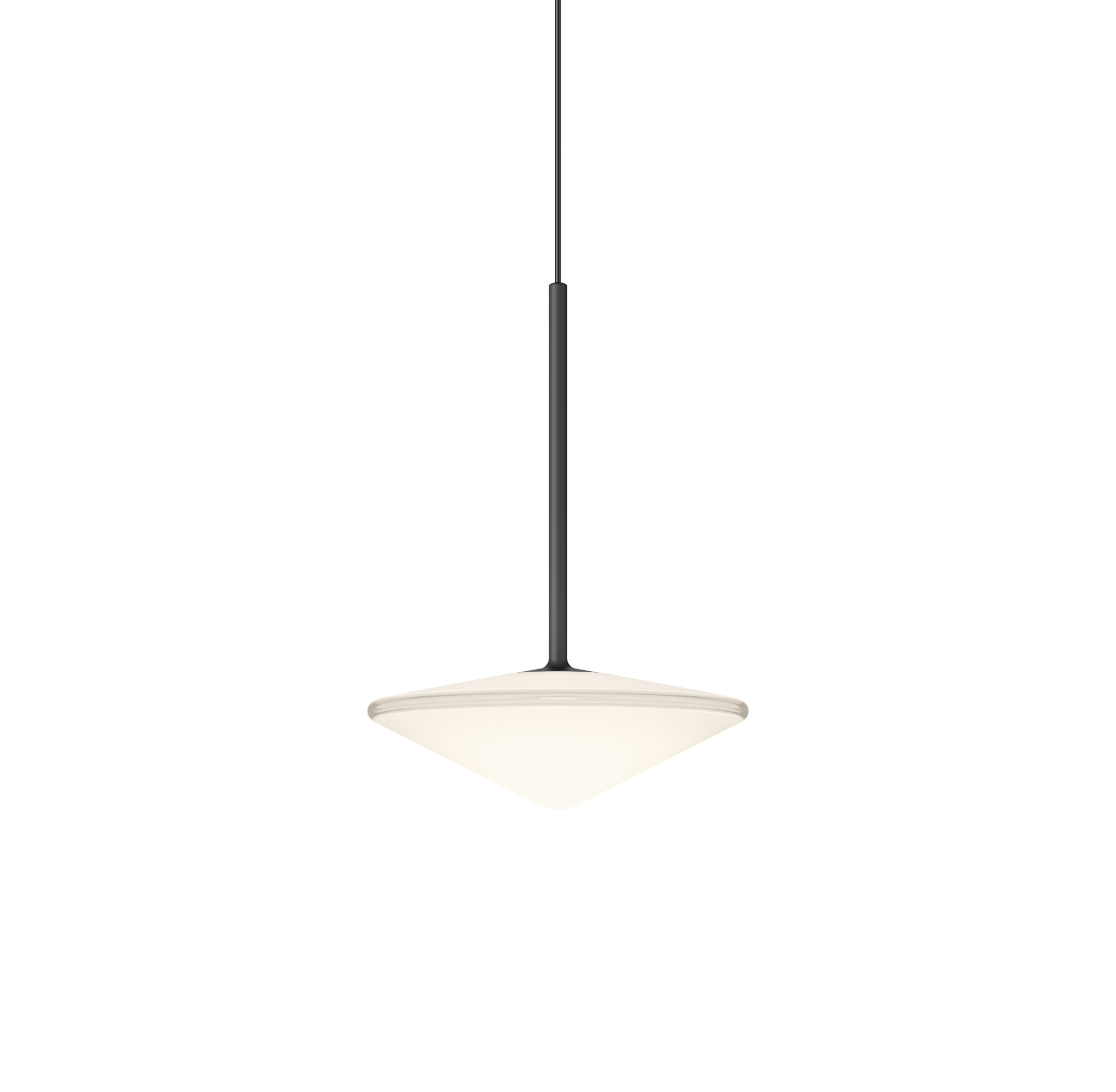 Lighting - Pendant Lighting - Tempo Triangle Pendant - / LED - Ø 20.5 cm by Vibia - Graphite grey - Blown glass, Varnished aluminium