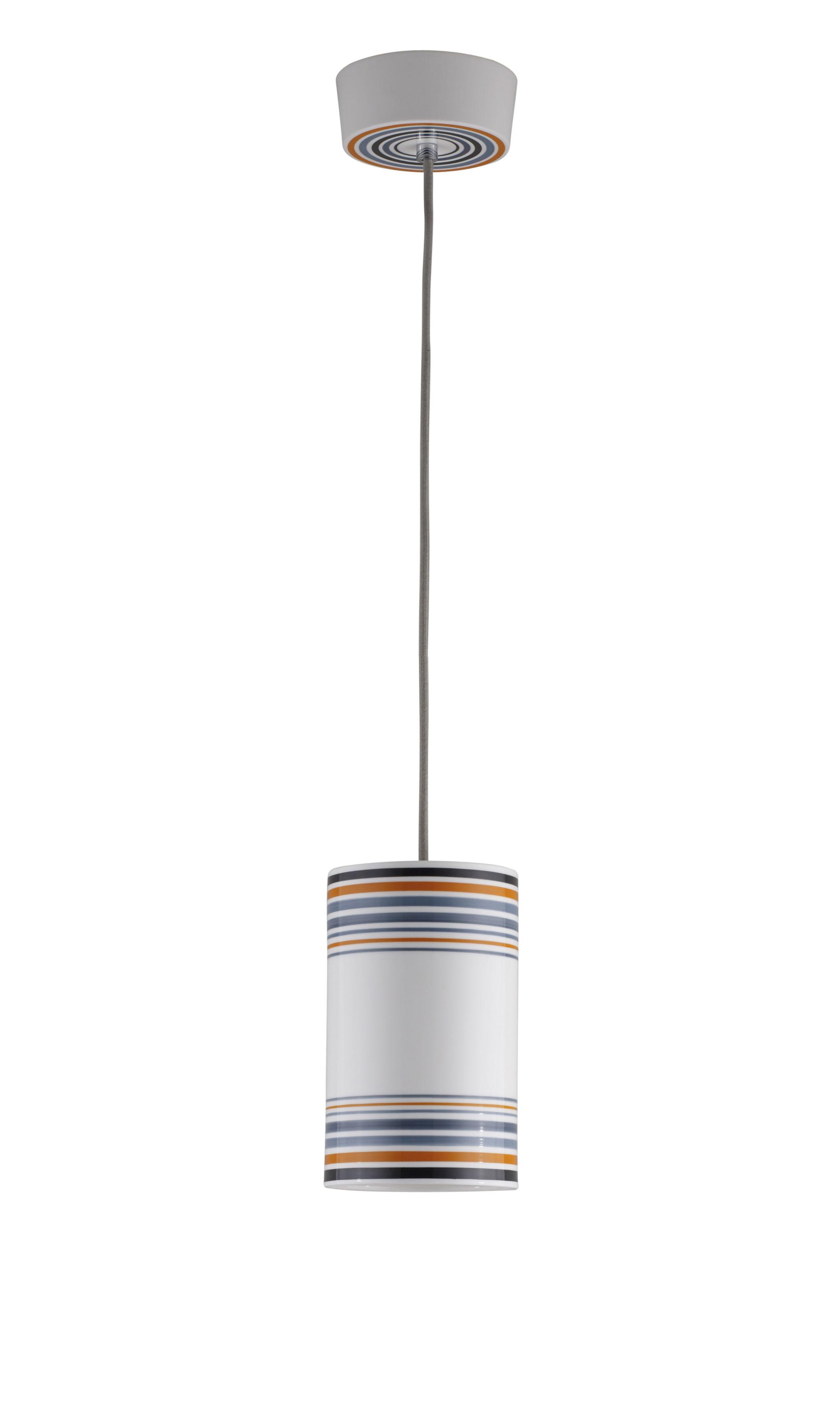 Leuchten - Pendelleuchten - May Pendelleuchte / handbemalt - Ø 12,5 cm x H 20 cm - Original BTC - Größe 2 / Streifen orange - Porzellan