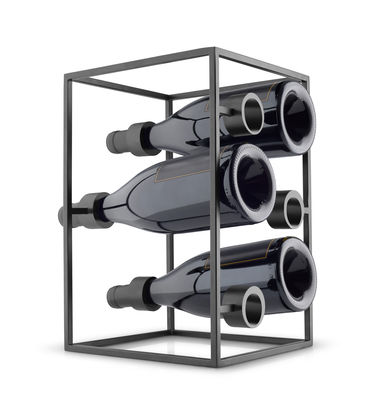 Tavola - Bar, Vino, Aperitivo - Portabottiglie Wine Cube - / 6 bottiglie di Eva Solo - Nero opaco - Acciaio inossidabile