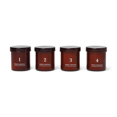 Decoration - Candles & Candle Holders - Cannelle Scented candle - / Advent calendar - Set of 4 by Ferm Living - Amber - Glass, Wax