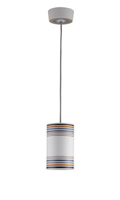 Illuminazione - Lampadari - Sospensione May - / dipinto a mano - Ø 12,5 x H 20 cm di Original BTC - Dimensione 2 / Righe arancioni - Porcellana